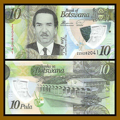"Botswana 10 Pula, 2018 P-New Replacement ""ZZ"" Polymer Unc"