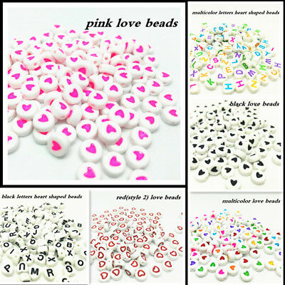 Hot 600Pcs 7mm Heart-shaped A-Z  Alphabet Letter Round Beads Acrylic Spacer Bead