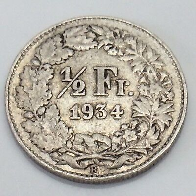 1934 Switzerland 1/2 One Half Franc Helvetia Swiss Circulated Coin F333