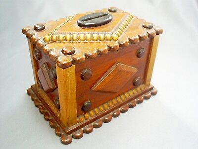 Lovely Vintage Hand Carved Wood/treen Folk Art Money Box/bank