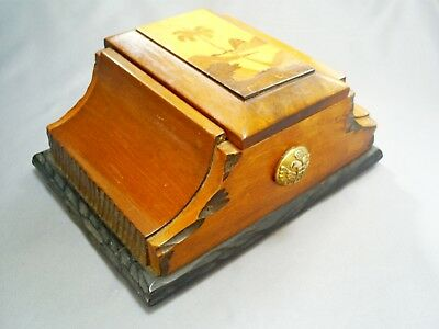 1960s VINTAGE BRAZILIAN HAND CARVED WOOD/TREEN PICTORIAL CIGARETTE DISPENSER BOX