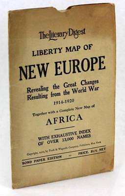 1920 The Literary Digest Liberty Map of New Europe WWI with Complete Index