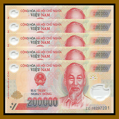Vietnam Vietnamese (200 Thousand) 200000 Dong x 5 Pcs (1 Million), 2012-2017 Unc