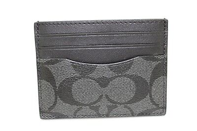 Coach Men's F58110 Signature ID Card Case Charcoal/Black