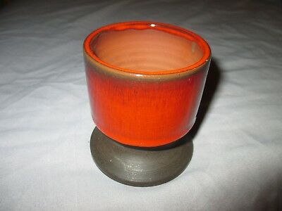 Jersey Studio Pottery 1960s Flambé Red Brown Stoneware 8.75cm H Chalice Vase