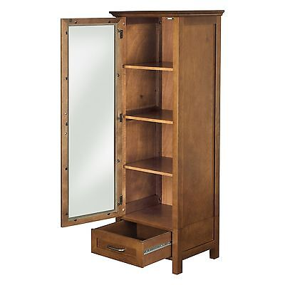 Bathroom Linen Tower Cabinet Modern Wood Towel Storage Shelves Drawer Stand