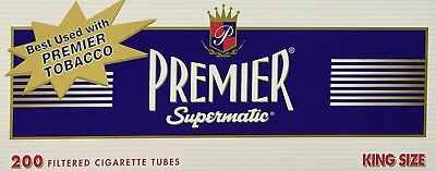 1x Box Premier Full Flavor King Size ( 200 Tubes )  Cigarette Tube  Navy