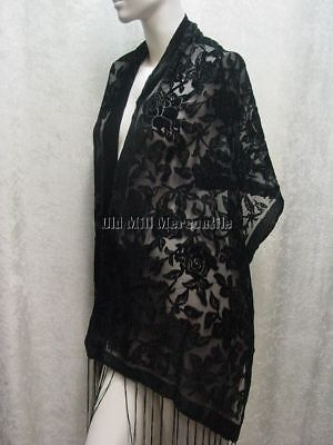 "Black Velvet burn out shawl wrap scarf 60"" X 20"" with fringe silk blend NEW"