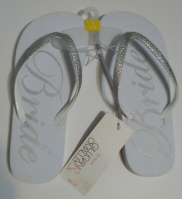 Gilligan & O'Malley Bride Flip Flops Silver and White Size 5/6