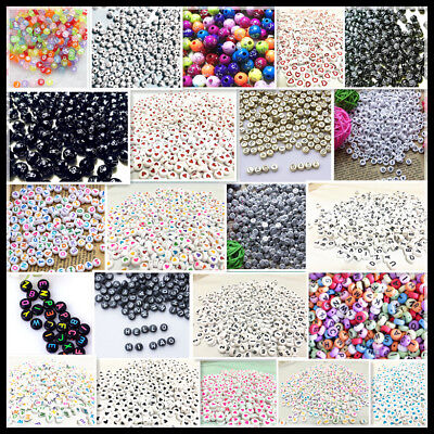 Hot 300-1000Pcs A-Z Alphabet Letter Round Beads Acrylic Spacer Bead