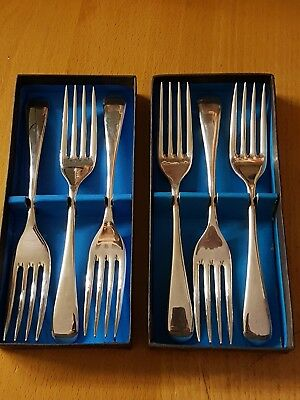 6 X Vintage Viners Silver Plated Super A Epns  Forks Boxed