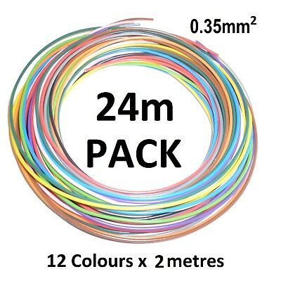 0.35mm THIN WALL COPPER CORE AUTO CABLE 7A - 12 Colours - 24 metres (12 x 2m)