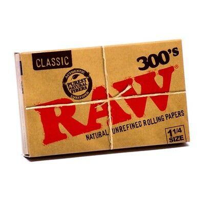 12x Packs Raw Classic 300  ( 300 Leaves / Papers Each Pack )  Rolling Paper 1.25