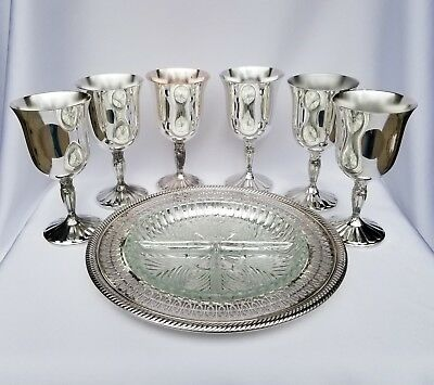 Silverplate Serving Set - 6 International Silver Co Goblets & Wm Rogers Co Tray