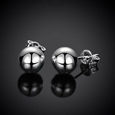 Nice New 925 Sterling Silver Plated Smooth & Shiny 8mm Round Ball Stud Earrings