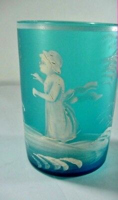 Lot #8:  MARY GREGORY, AMERICAN(1856–1908) VICTORIAN: BLUE FROSTED JUICE GLASS