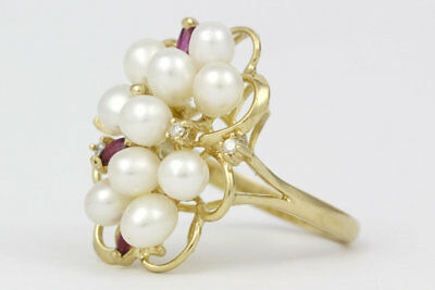 Elegant 14k Yellow Gold, Pearl, Ruby & Diamond Cluster Ring
