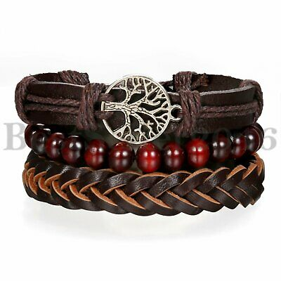 3pcs Tree of Life Leather Braided Tribal Wood Bracelet Men Women Wristband Set