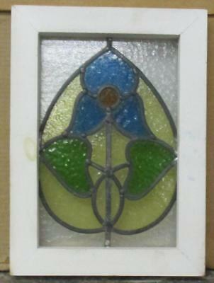 "OLD ENGLISH LEADED STAINED GLASS WINDOW Very Cute Floral 10.75"" x 14.75"""