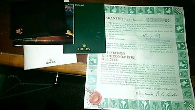 Vintage Rolex Guarantee Paper With Original Booklets Wallet Submariner Set