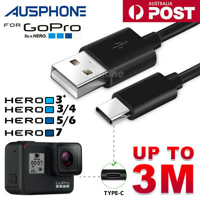 USB Data Power Charger Charging Cord Cable GoPro Hero 5 6 7 4 3+ Session Camera