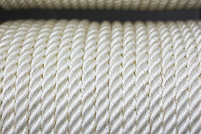 Nylon 3 Strand Twisted Rope 18mm x 100m, White