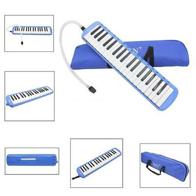 37 Keys Melodica Pianica Instrument with Carrying Bag for Students Blue Q1Q2