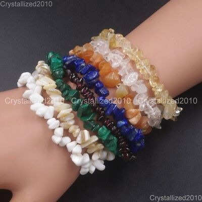 Handmade 5-8mm Mixed Natural Gemstone Chip Beads Stretchy Bracelet Healing Reiki