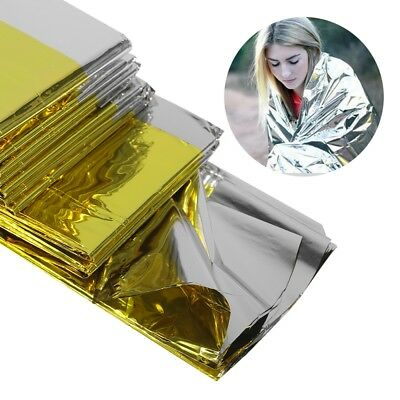 Emergency Blanket Lifesaving Thermal Insulation Sunscreen Blanket Gold Silver K6