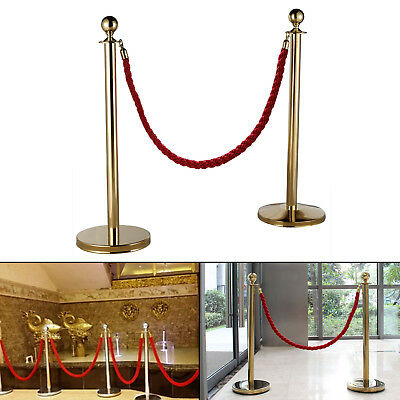 2x  Polished Steel Queue Rope Barrier Post Stand Stanchion + 1.5m Rope UK