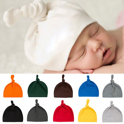 Cotton Beanie Newborn Baby Knotted Hat Boys Girls Soft Cap Infant Toddle Fashion