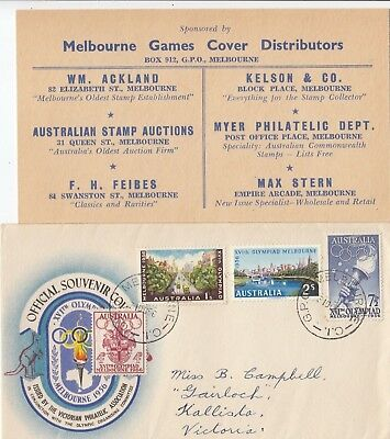 Stamps 1956 Australia part set 4 on Olympic Games souvenir cover & dealer insert