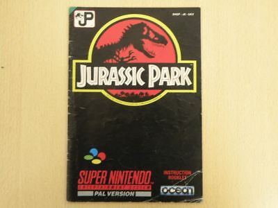 Super Nintendo SNES Game Manual * JURASSIC PARK * Manual ONLY 23858