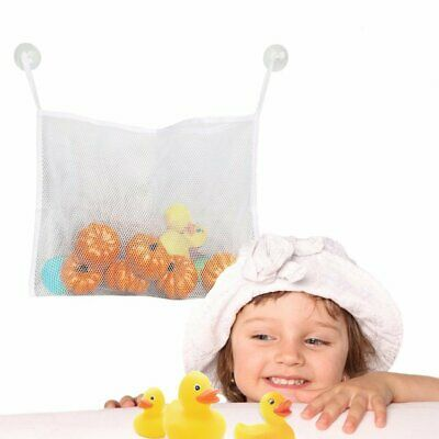Baby Bath Time Toy Storage Suction Bag Hanging Mesh Net Bathroom Organiser HU