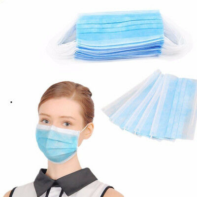 50/100X Disposable Medical Surgical Mouth Face Mask Respirator Anti-Dust HU