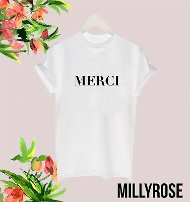 Merci French Thank You Ladies Womens Slogan White Black T Shirt Tee Tshirt Gift