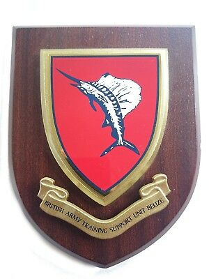 British Army Training Support Unit Belize Military Shield Wall Plaque