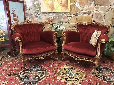 Pair Vintage French Louis Wingback Chesterfield Lounge ArmChair~Chair-Red Velvet