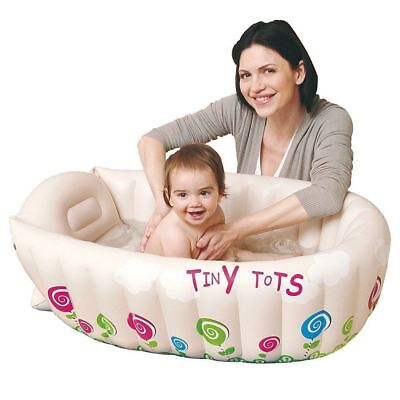 JILONG Tiny Tots Inflatable Baby Bath Tub Heat Sensor Travel Infant Washing Tub