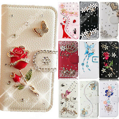 Case For WIKO Cute Rhinestone Diamond Wallet Leather Flip Cover Magnetic Skin