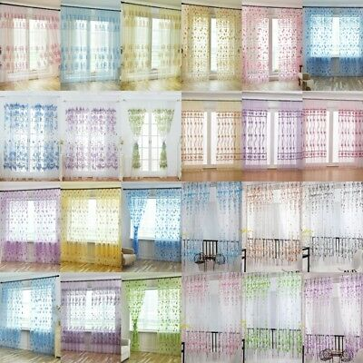 Floral Tulle Voile Door Window Curtain Drape Panel Sheer Scarf Valances Curtains