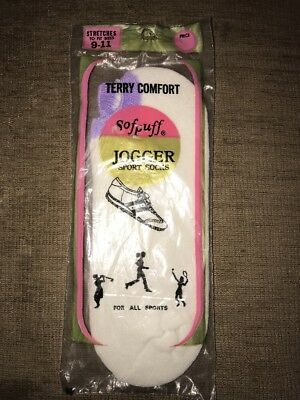 Vintage Sofpuff Jogger Sport Socks Terry 9-11 Purple New Old Stock NIP