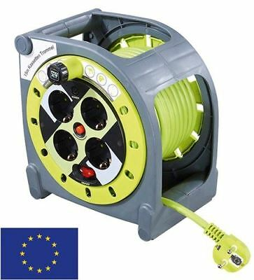 Case reel with cable routing 15m grey-green with 4x EU sockets/surge protection