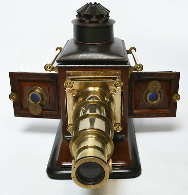 Victorian magic lantern, mahogany and brass, large proportions, cased