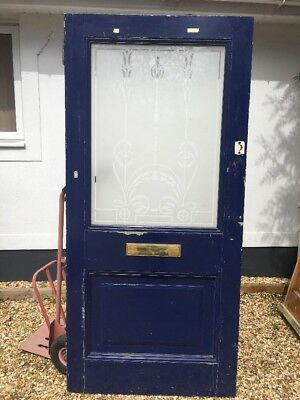Xl Edwardian Etched Glass Front Door  Reclaimed Old Period Wood Antique Pine
