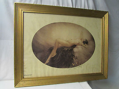 EVE Reclining Female Nude Print ~ Copyright 1928 L Icart, Paris ~ Oval Shaped
