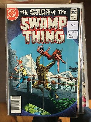 SAGA OF THE SWAMP THING #12 VF/NM 1st Print CANADIAN PRICE VARIANT Newsstand