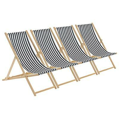 Folding Wooden Deckchair Garden Beach Seaside Deck Chair Black / White Stripe x4  sc 1 st  PicClick UK & ANTIQUE VINTAGE WOODEN Deck Chair 4 Position Beach Garden ...