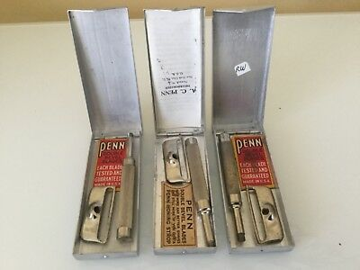 3 Rare Early VINTAGE PENN SAFETY RAZORs IN ALUMINUM CASES NEAR MINT From Museum