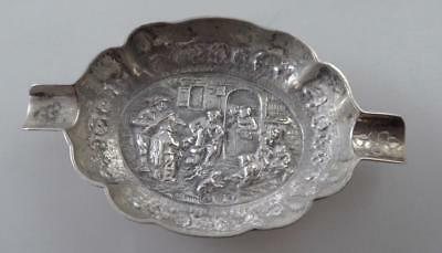Dutch Silver Ashtray Date 1925 Embossed Domestic Scene